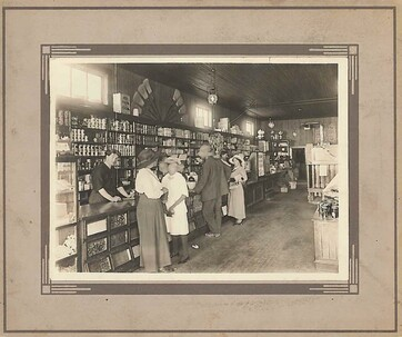 Historic photo of inside of local shop
